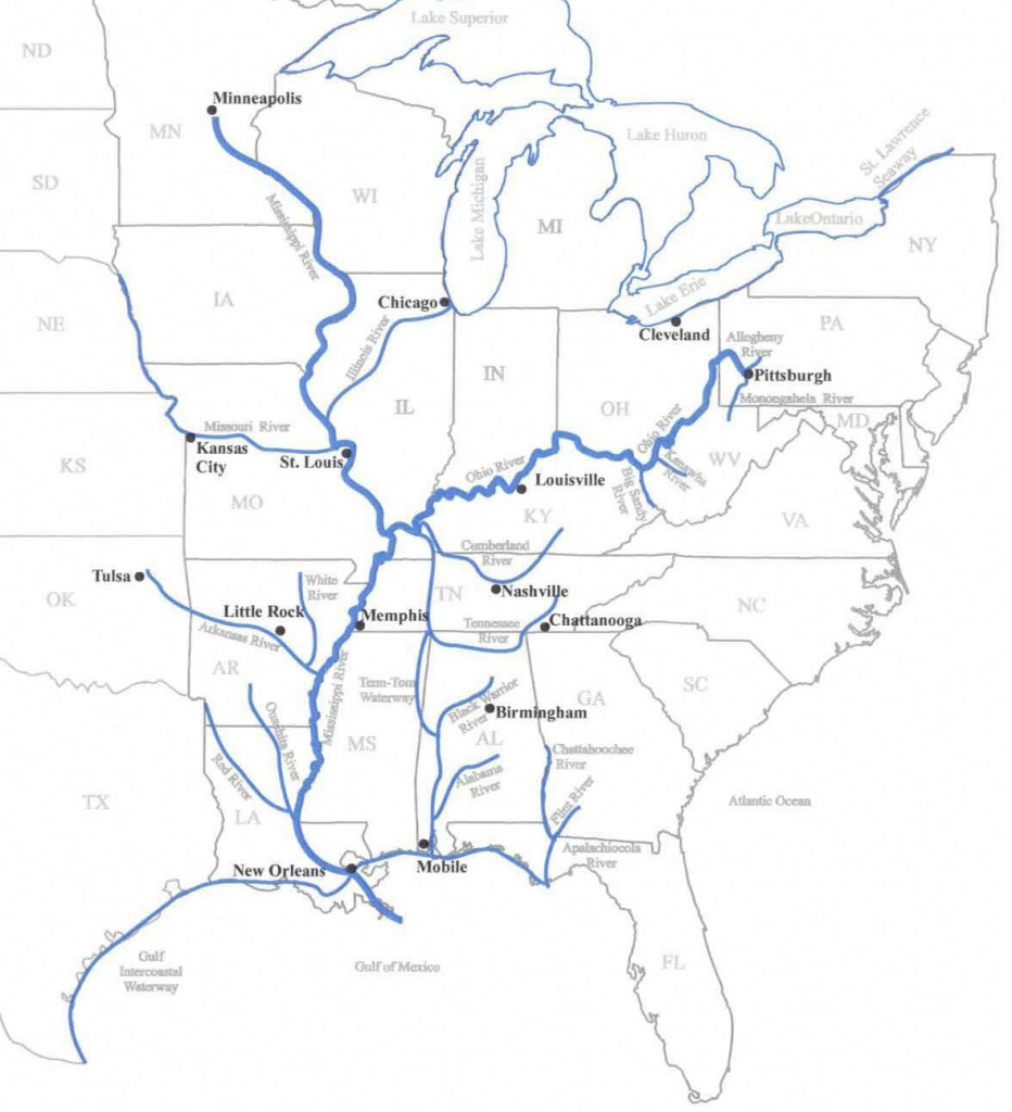 Eastern Us Waterways Map – Coosa- Alabama River Improvement Assn inside Navigable Waters Of The United States Map