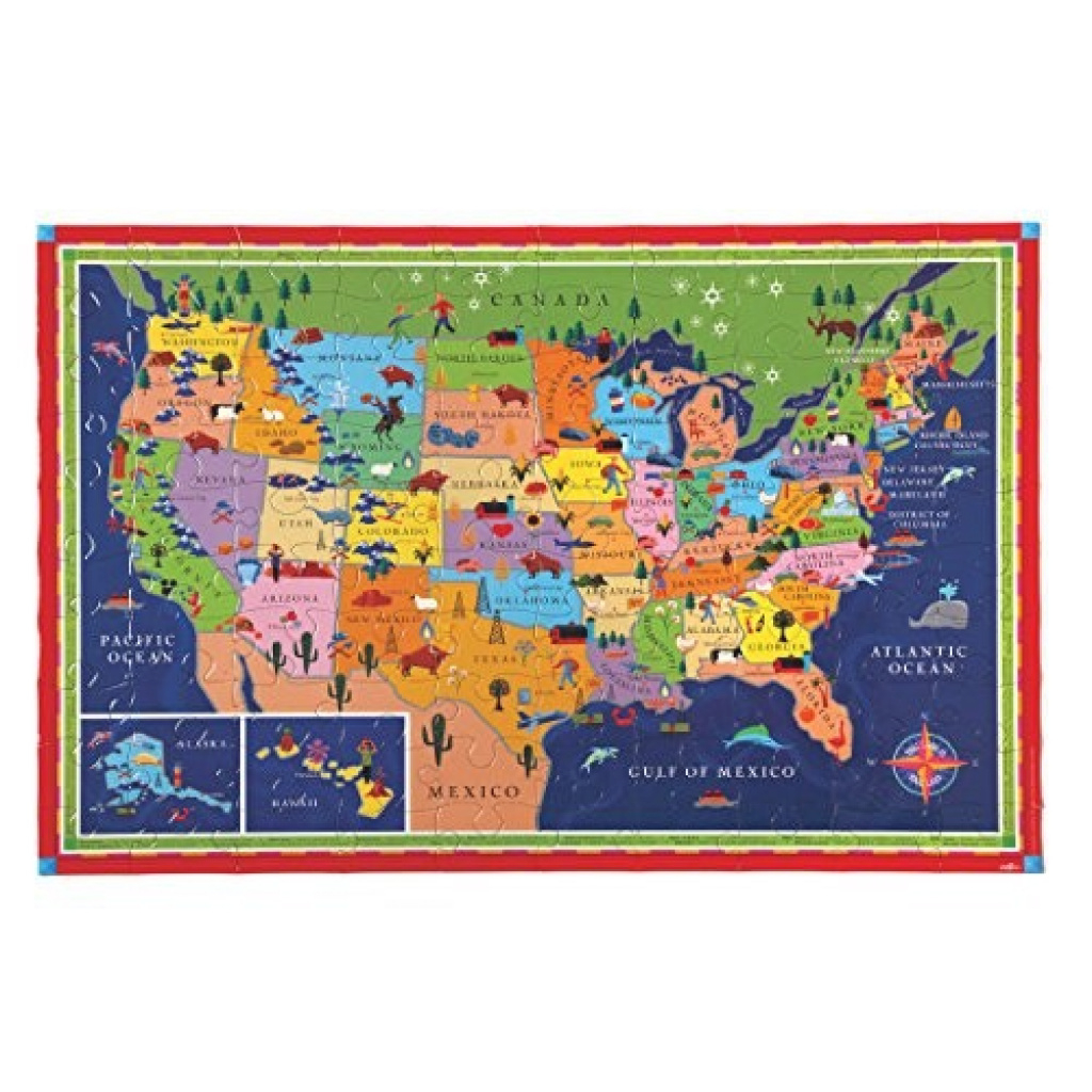 Eeboo United States Map Puzzle, 100 Pieces : Puzzles - Best Buy Canada inside United States Product Map