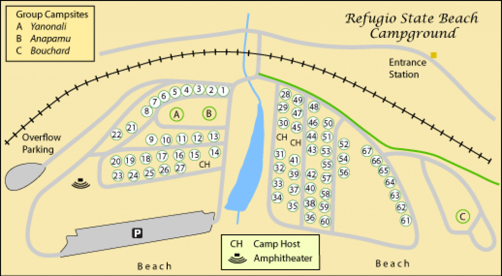 El Capitan Beach And Refugio Beach Camping in Illinois State Campgrounds Map