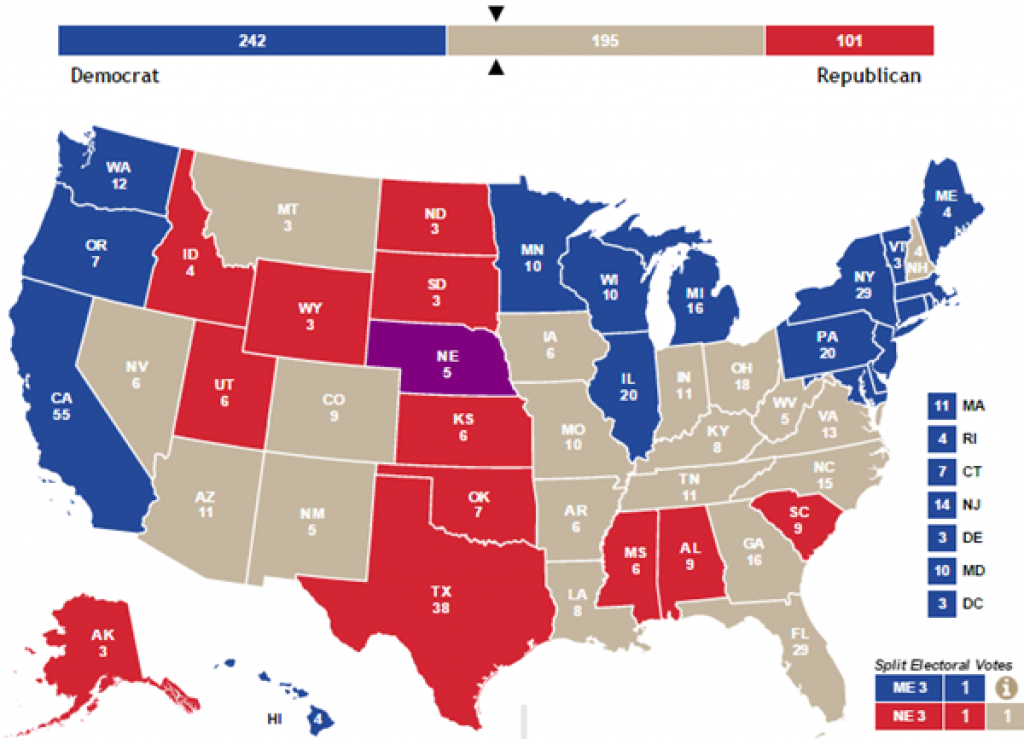 Election News, Polls And Results intended for Map Of Red States And Blue States 2016
