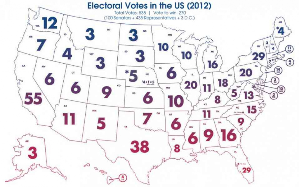 Electoral Votesstate Map | Holiday Map Q | Holidaymapq ® within Electoral Votes By State Map