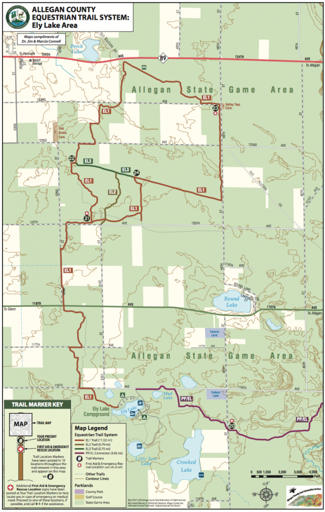 Ely Lake - Trailmeister with Allegan State Game Area Trail Map