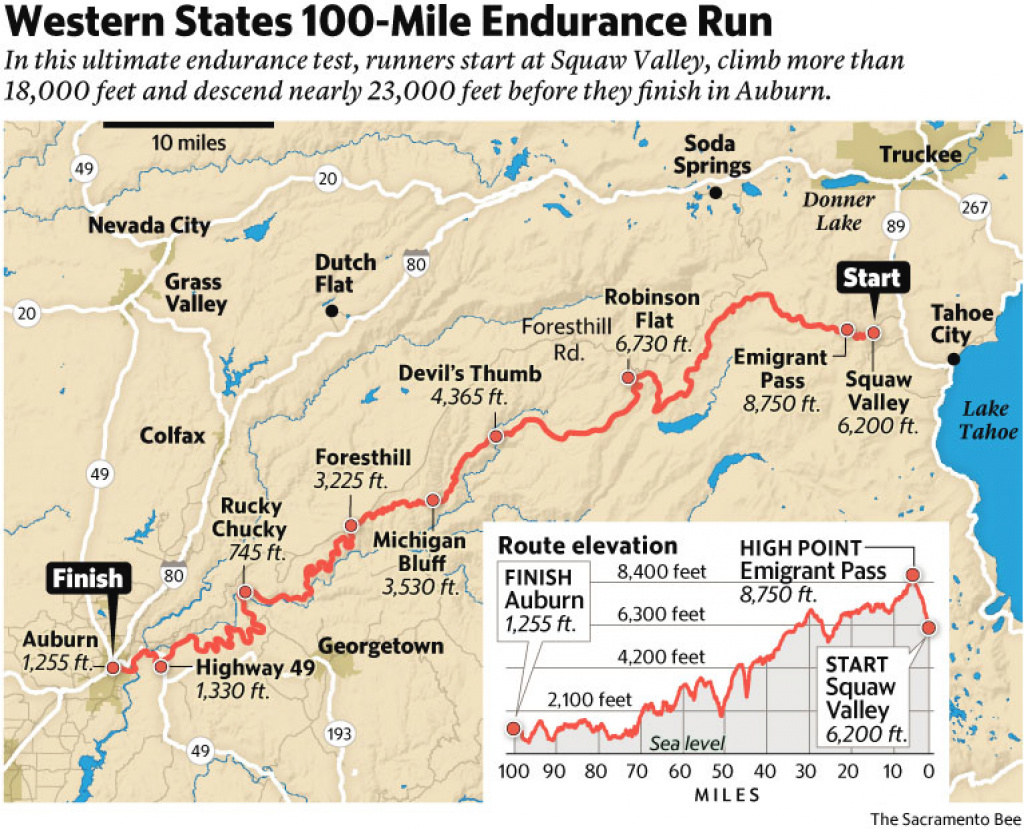 Eric Byrnes Trades Bats And Balls For 100-Mile Runs | The Sacramento Bee with Western States 100 Map