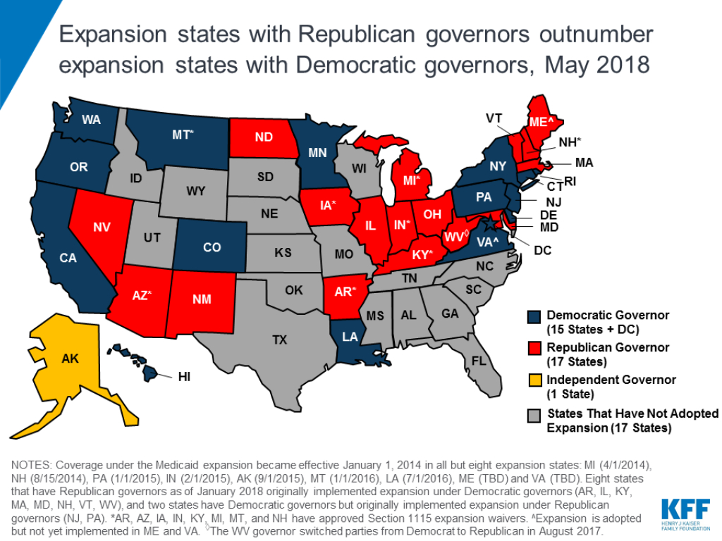 Expansion States With Republican Governors Outnumber Expansion within Republican States Map