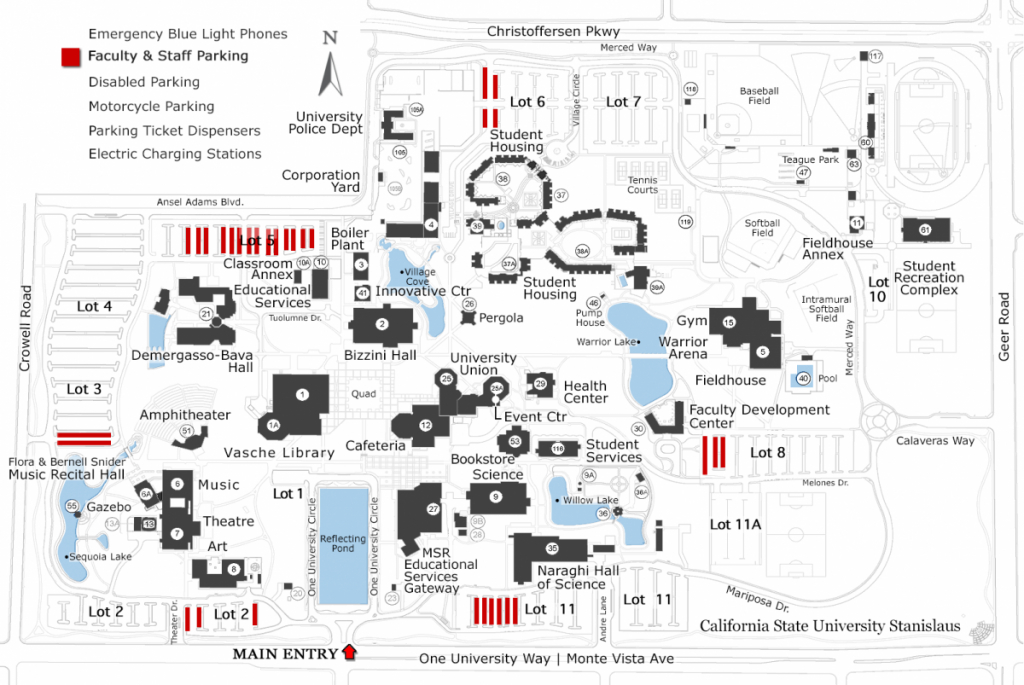Faculty & Staff Parking | California State University Stanislaus throughout California State University Map
