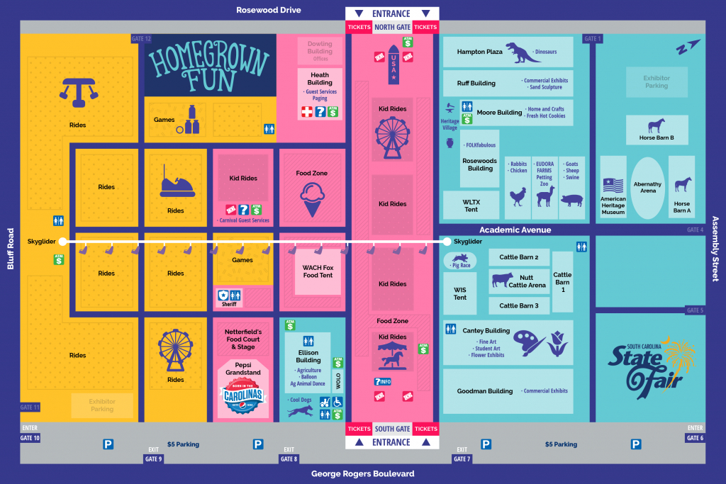 Fairground Map | South Carolina State Fair regarding Nc State Fair Map 2017