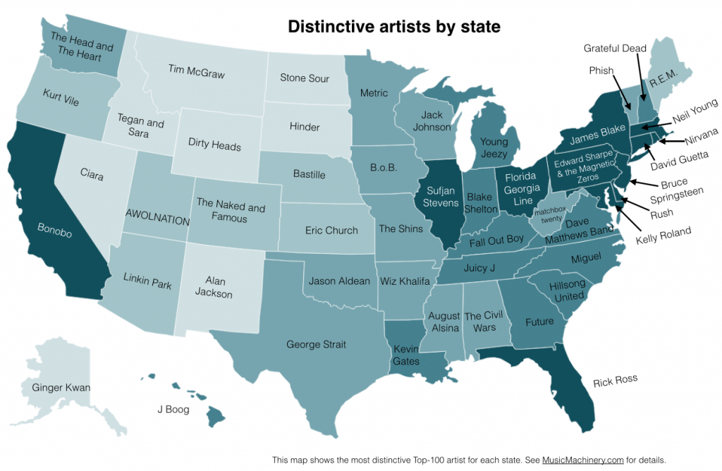 Favorite Bandsstate: Map From The Echo Sound | Time regarding What States Have I Been To Map