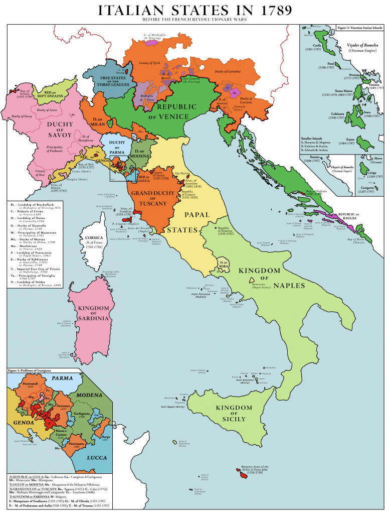 File:italian States In 1789 - Wikimedia Commons inside Italian States Map