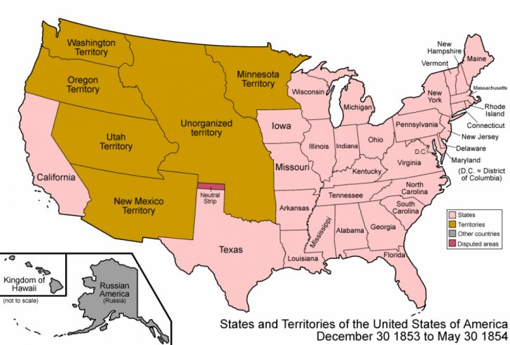 Growth Of The United States To 1853 Map