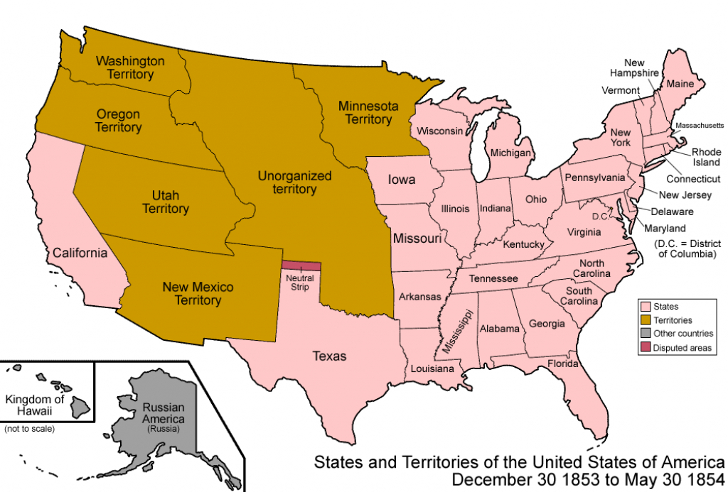 File:united States 1853-12-1854 - Wikimedia Commons within Growth Of The United States To 1853 Map