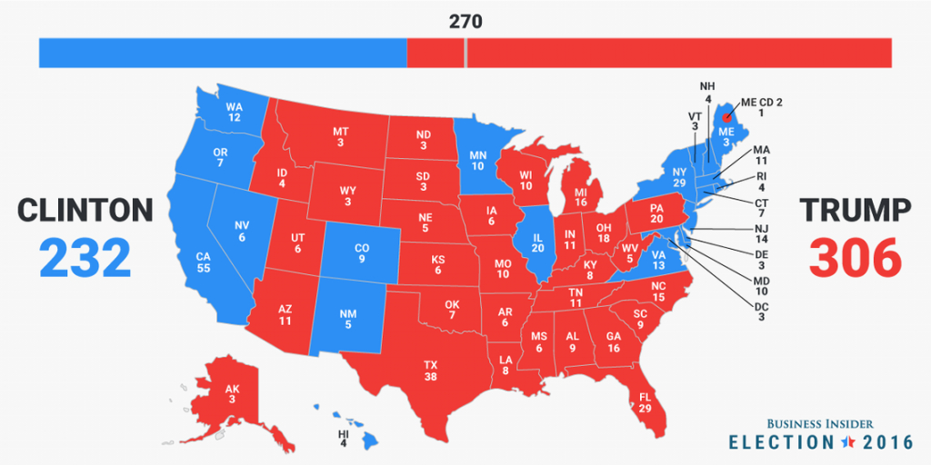 Final Electoral College Map - Business Insider throughout Blue States 2017 Map
