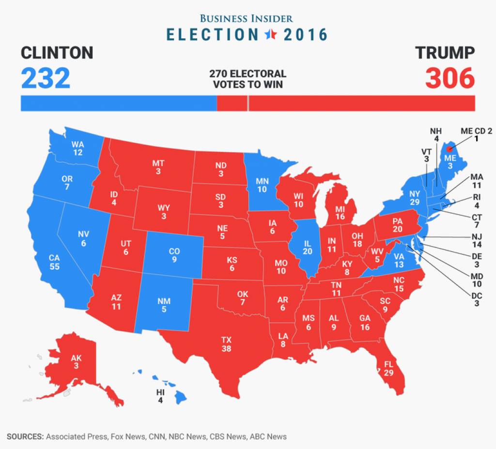 Final Electoral College Map - Business Insider within States Trump Won Map