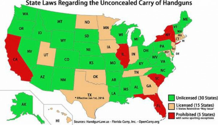 Open Carry States Map 2017