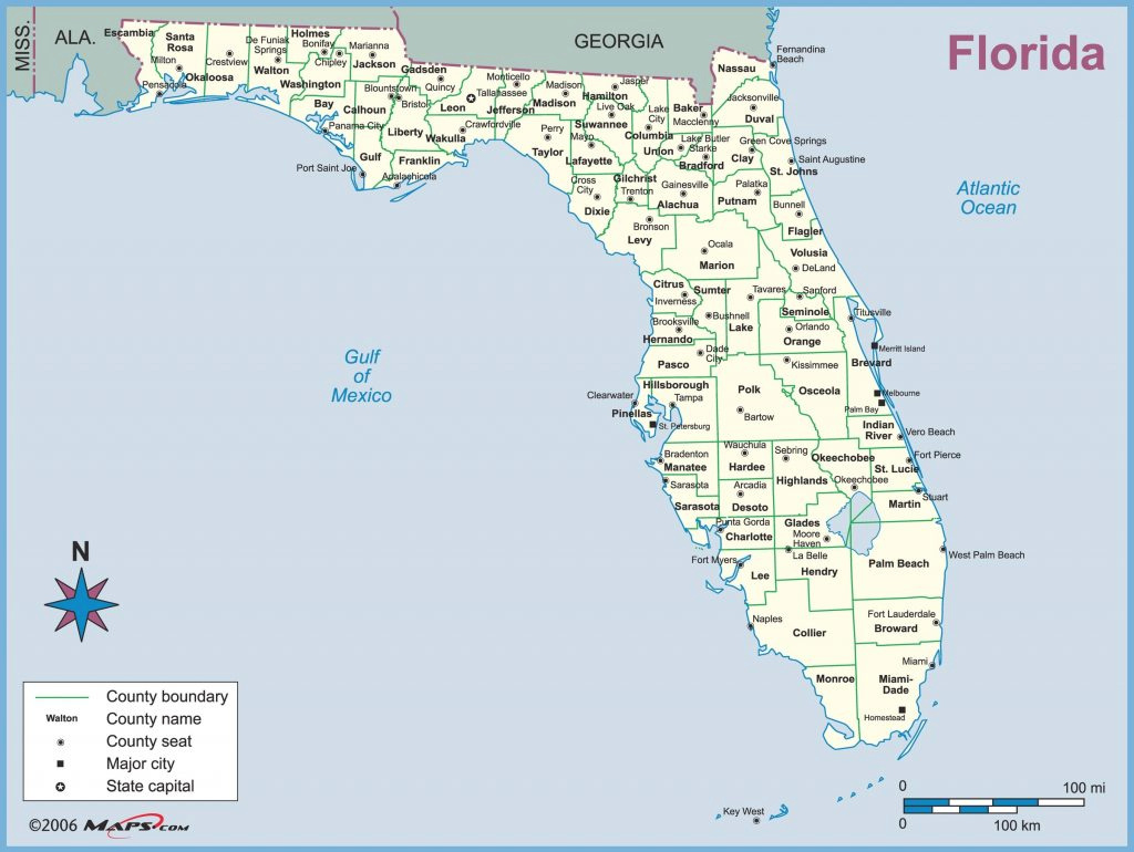 Florida State Map With Counties And Cities - Haviv regarding Florida State County Map With Cities