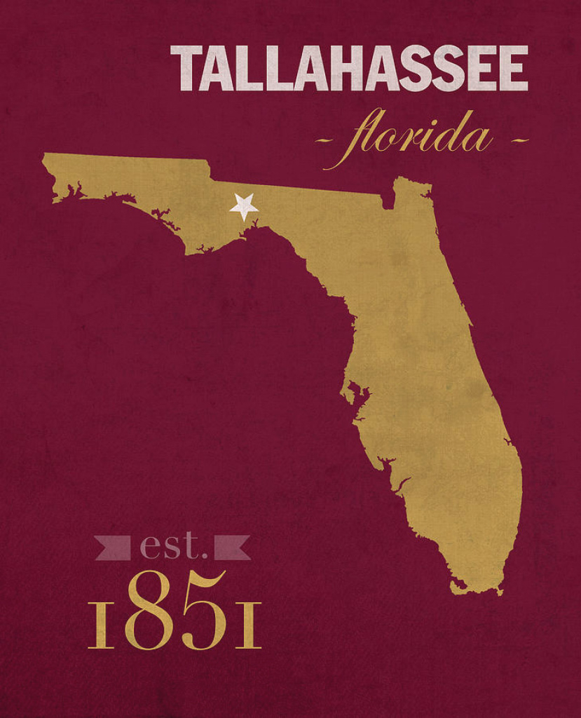 Florida State University Seminoles Tallahassee Florida Town State within Florida State Map Printable