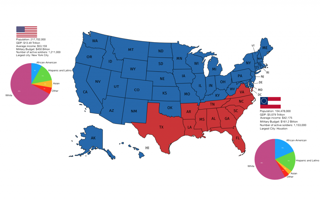 Former Confederate States Of America Vs The Rest Of The Us Today in Confederate States Of America Map
