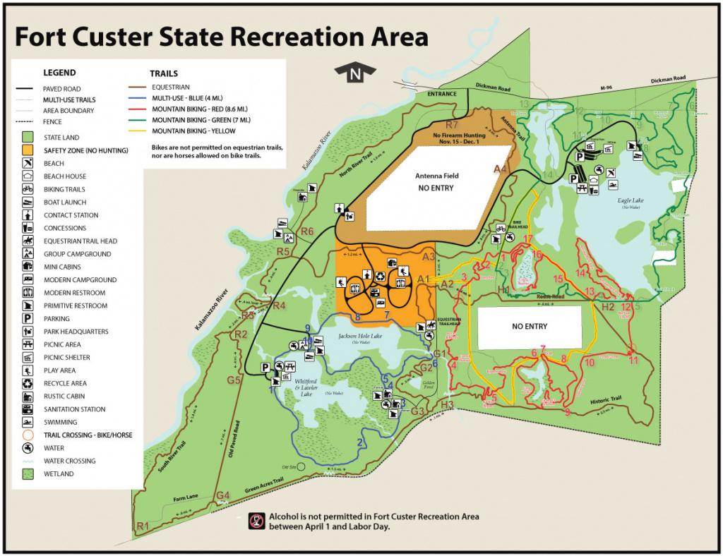 Fort Custer State Recreation Areamaps & Area Guide - Shoreline with Custer State Park Map