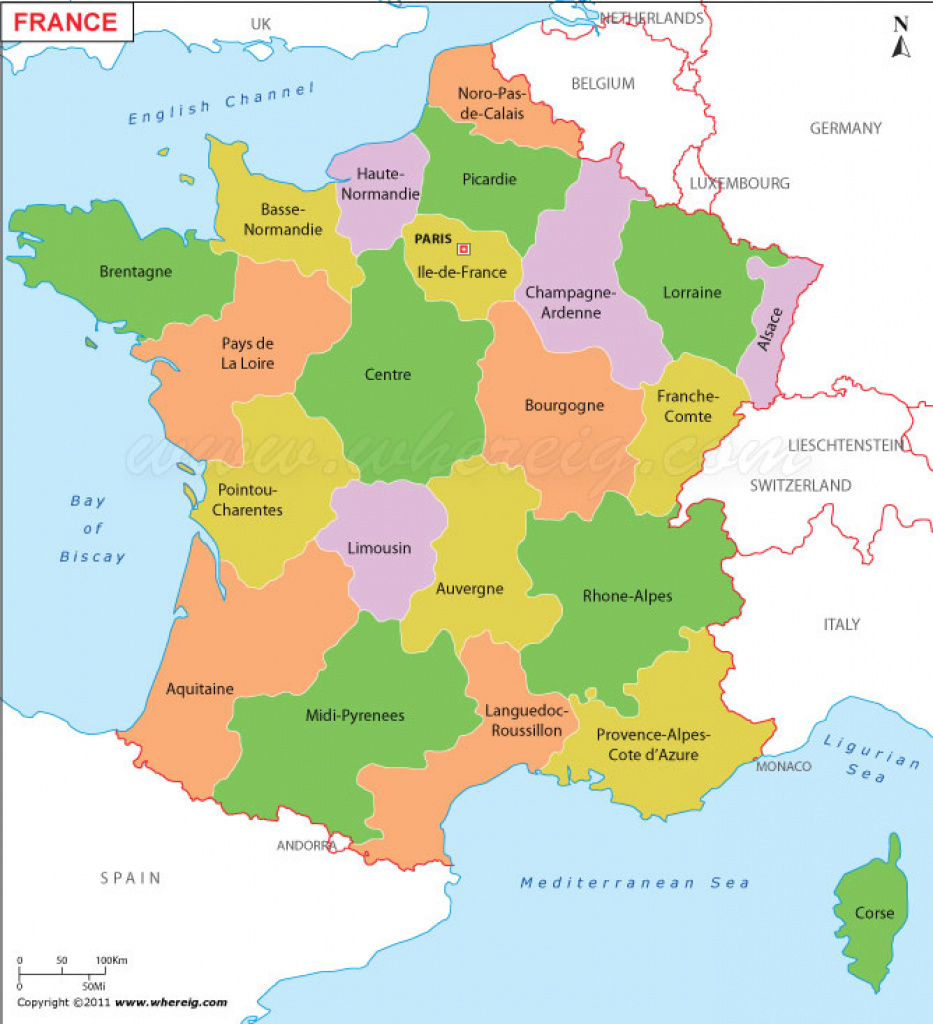France Map (Carte De France) | Political Map Of France within France States Map