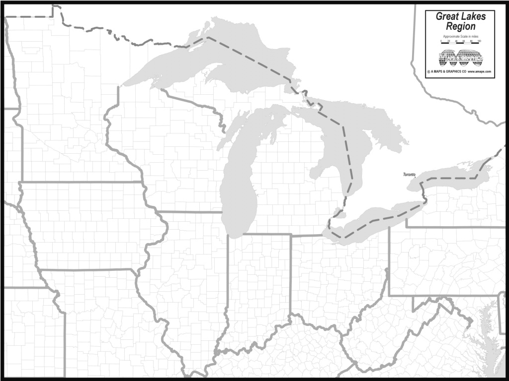 Free Map Of Great Lakes States for Great Lakes States Outline Map