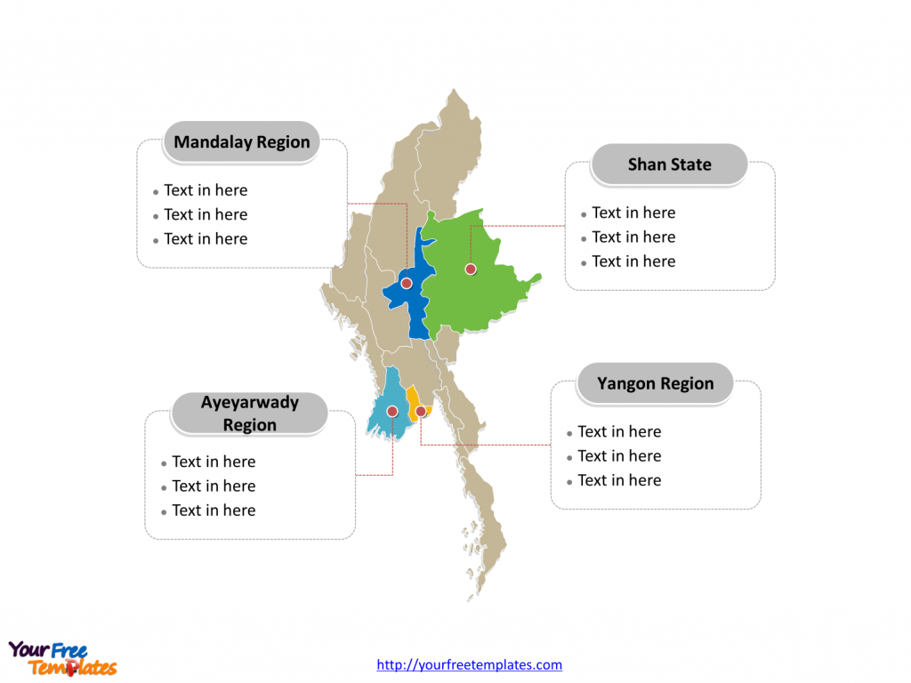 Free Myanmar Editable Map - Free Powerpoint Templates with regard to Map Of Myanmar States And Regions
