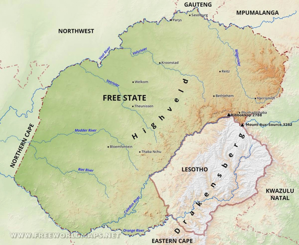 Free State Map - South Africa in Free State Map