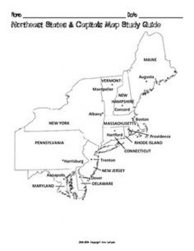 Free Us Northeast Region States & Capitals Maps | Worksheets pertaining to Northeast Region States And Capitals Map