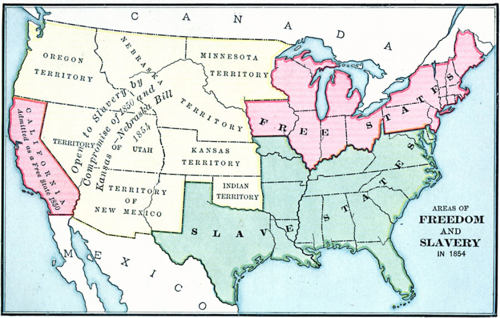 Freedom States And Slavery States, 1854 for Slave States And Free States Map