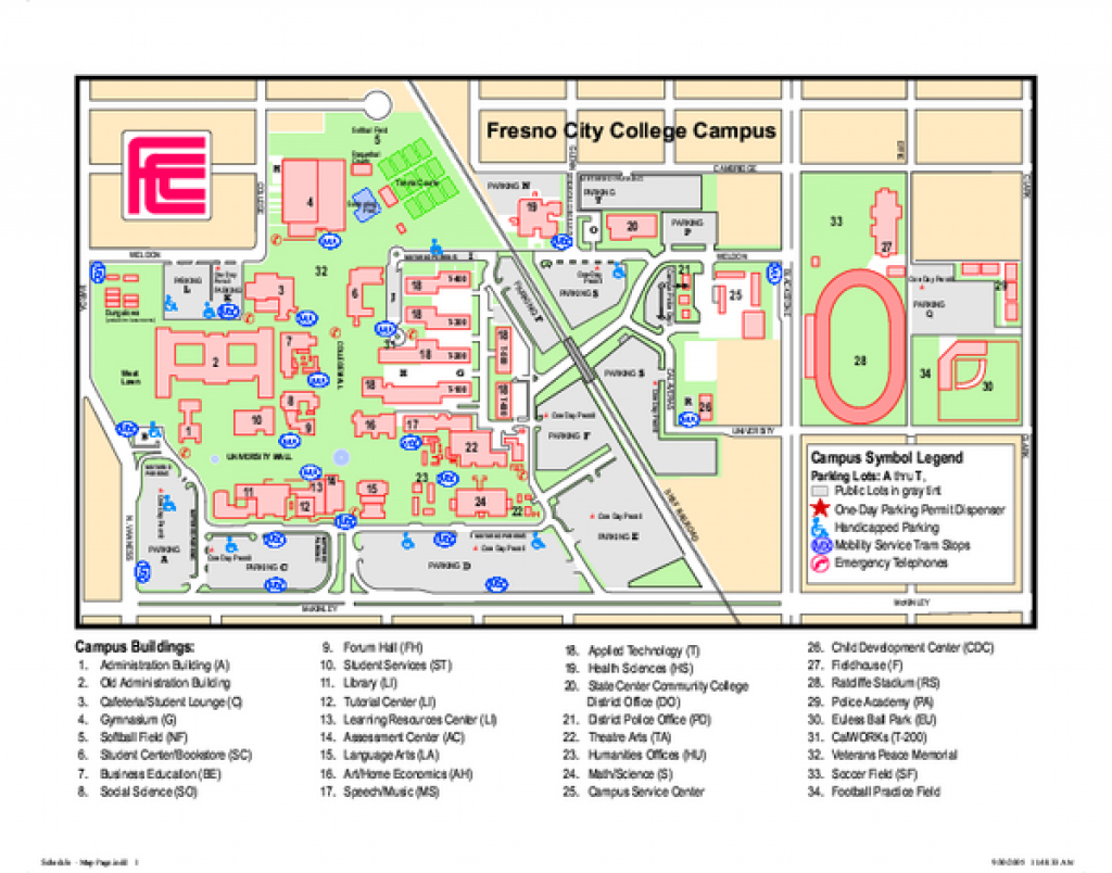 Fresno City College Campus Map - 1101 E University Avenue Fresno Ca in Sacramento State Map Pdf