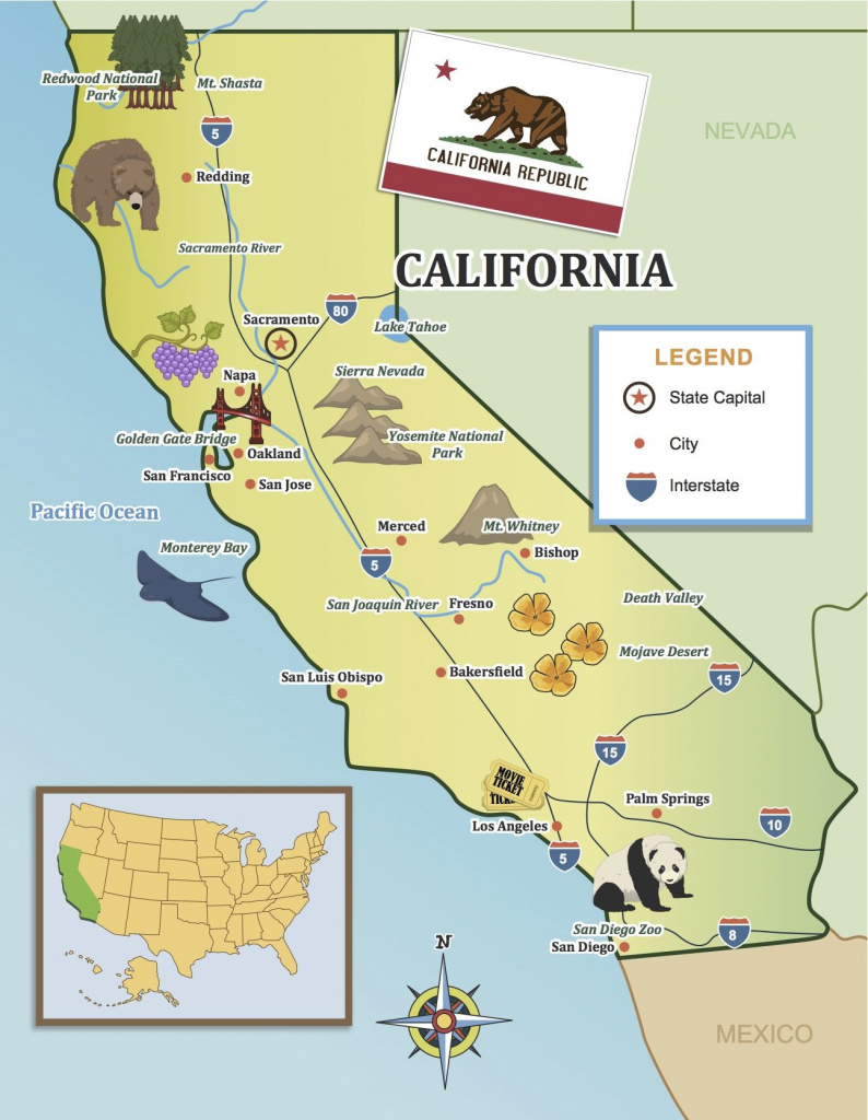 From The Golden Gate To The Beaches Of Socal, Show Your Kids in Golden State Map Location