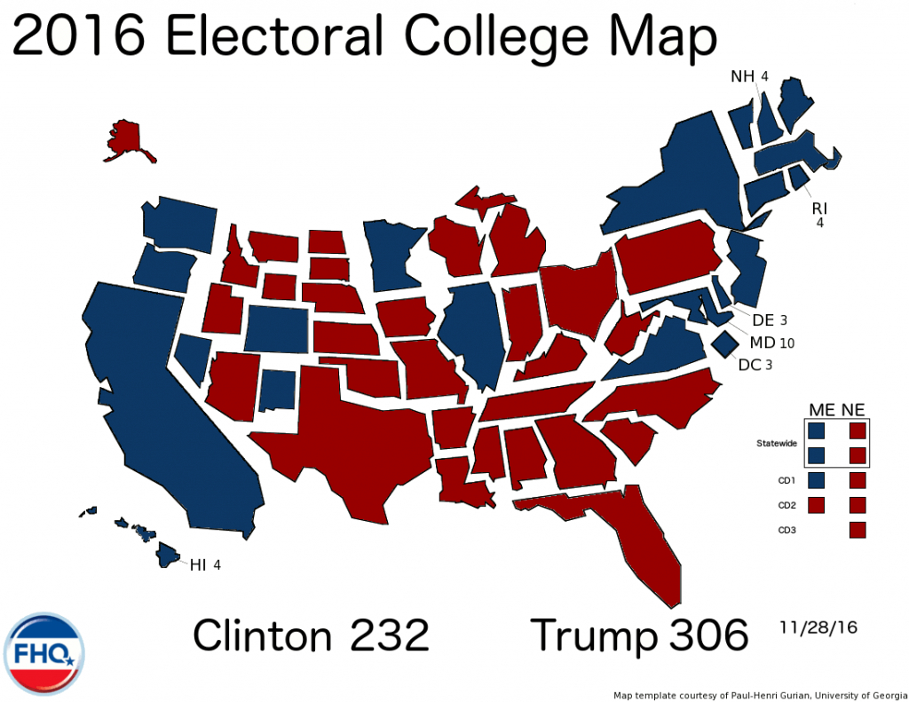 Frontloading Hq: 2016 Election Night within States Electoral Votes 2016 Map