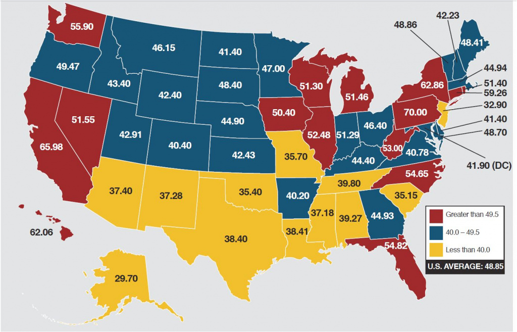 Gasoline Taxes And The Price At The Pump - Energy Factor pertaining to Cigarette Prices By State Map