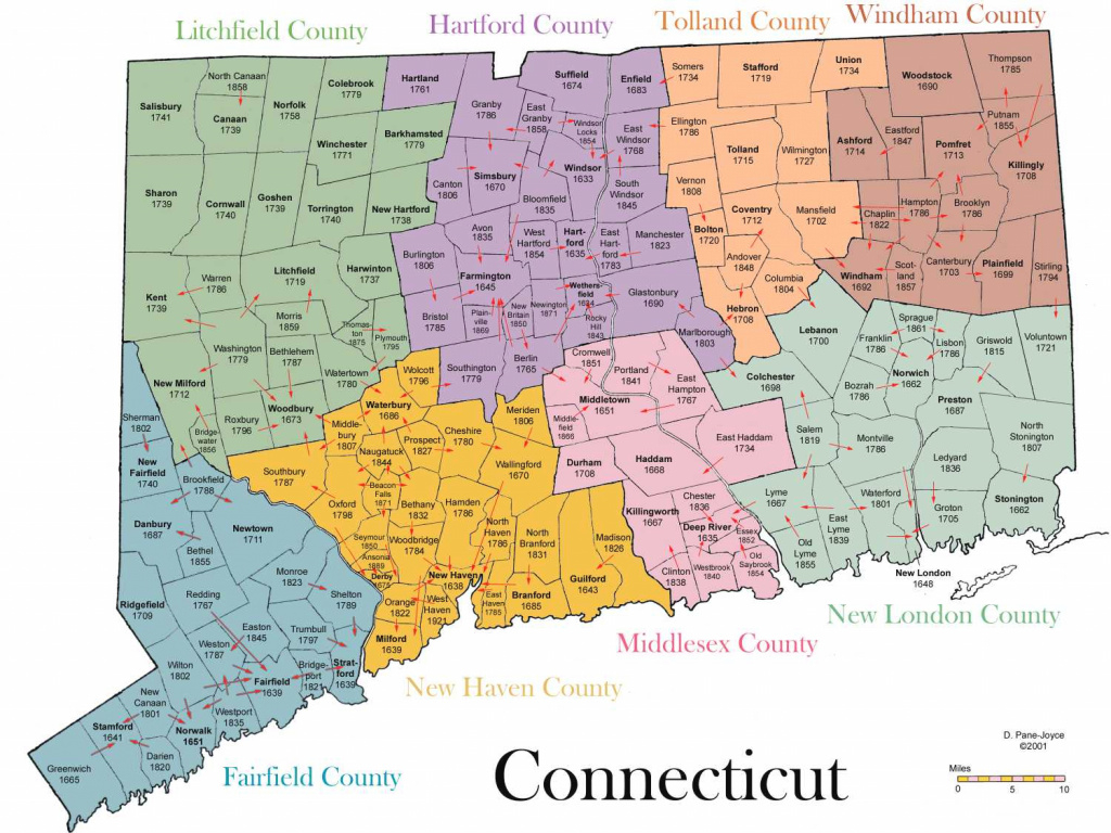 Genealogy Of Connecticut Towns within State Of Ct Map With Towns
