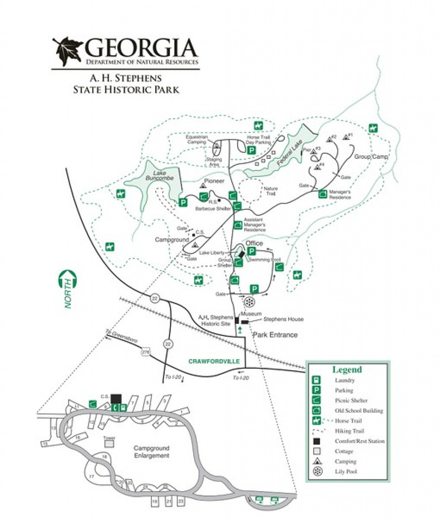 Georgia State Park Maps - Dwhike for Georgia State Parks Map