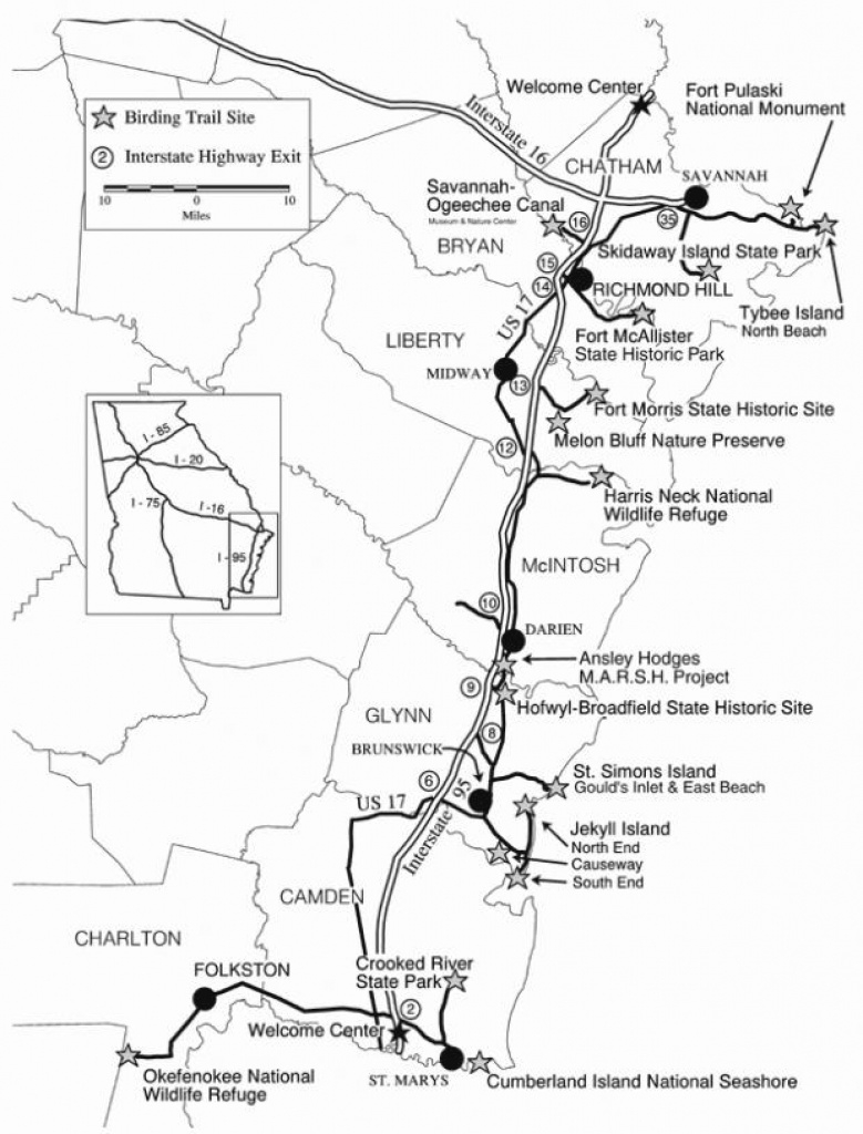 Georgia's Colonial Coast Birding Trail | Wildlife Resources Division intended for Skidaway Island State Park Trail Map