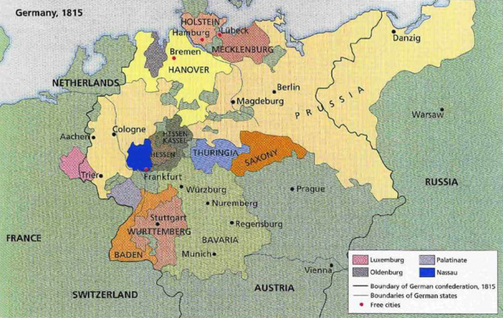 Germany Revolution 1848 - Frankfurt Vorparlament intended for German States Map 1850