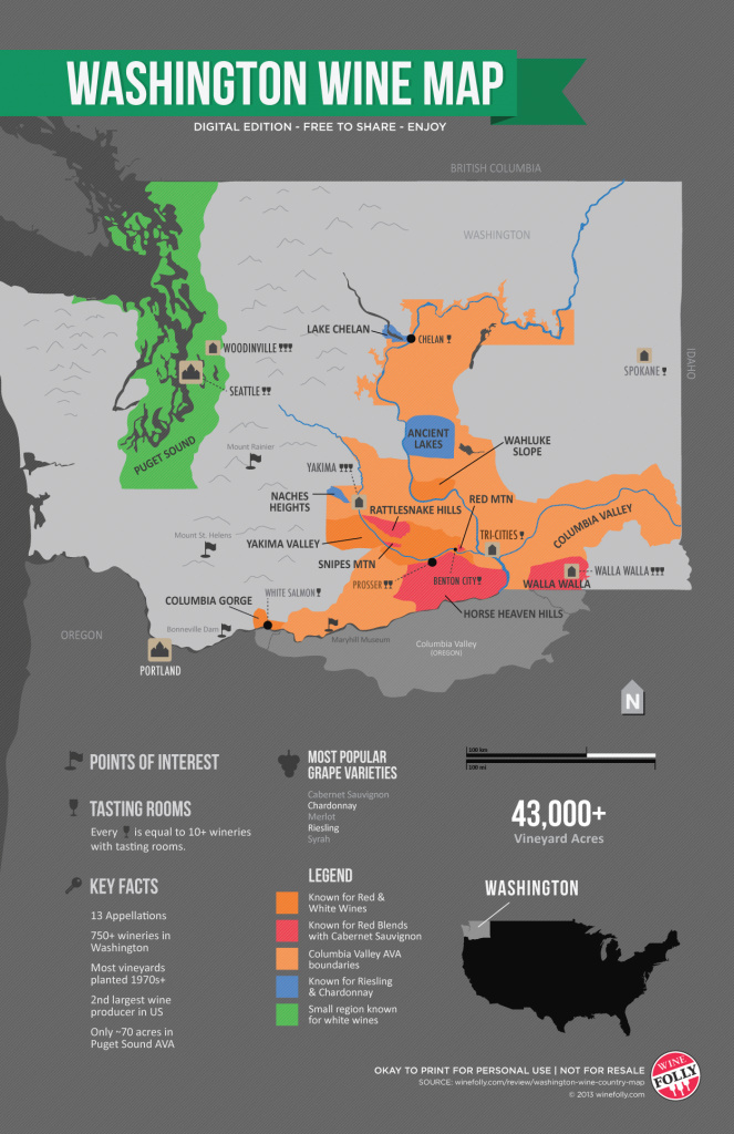 Get To Know Washington Wine Country (Map) | Wine Folly with Washington State Wineries Map