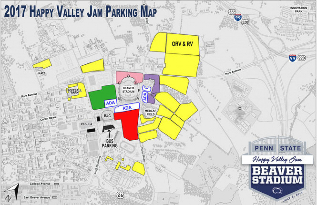 Going To Happy Valley Jam? Penn State Releases Parking Details within Penn State Rv Parking Map