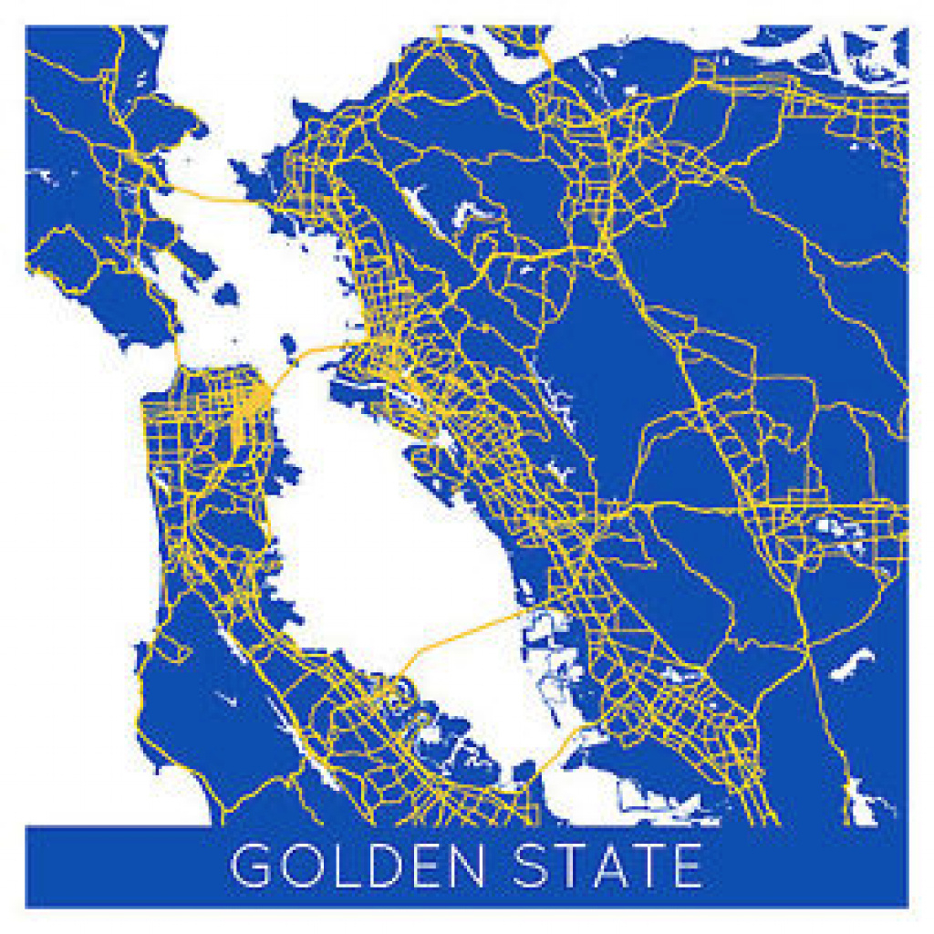 "Golden State Colors City Map - Poster Print 36"" X 36"" - Basketball throughout Golden State Map Location"