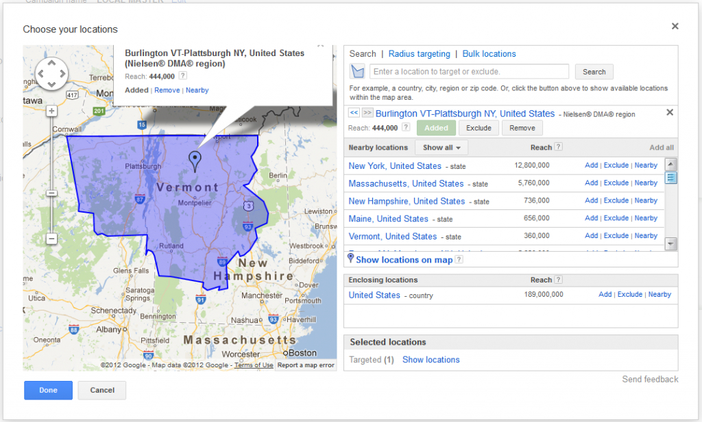 Google Adwords Nielsen® Dma® Regions Location Targeting | News | Vdw within Dma Map By State