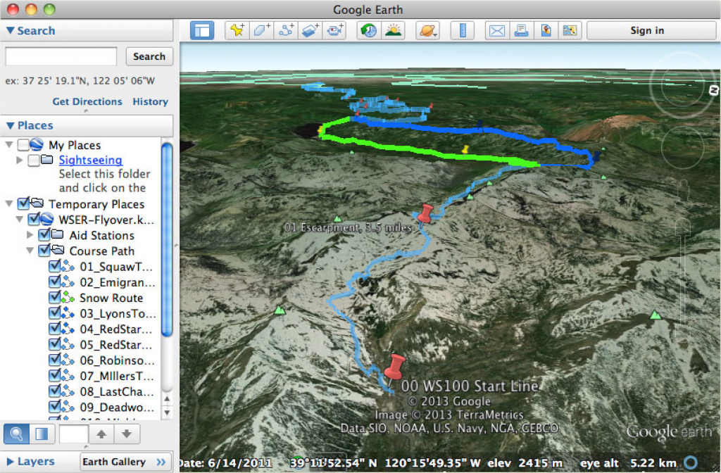 Google Earth Trail Flyover – Western States Endurance Run throughout Western States 100 Course Map