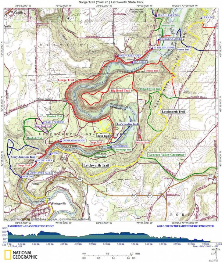 Letchworth State Park Trail Map
