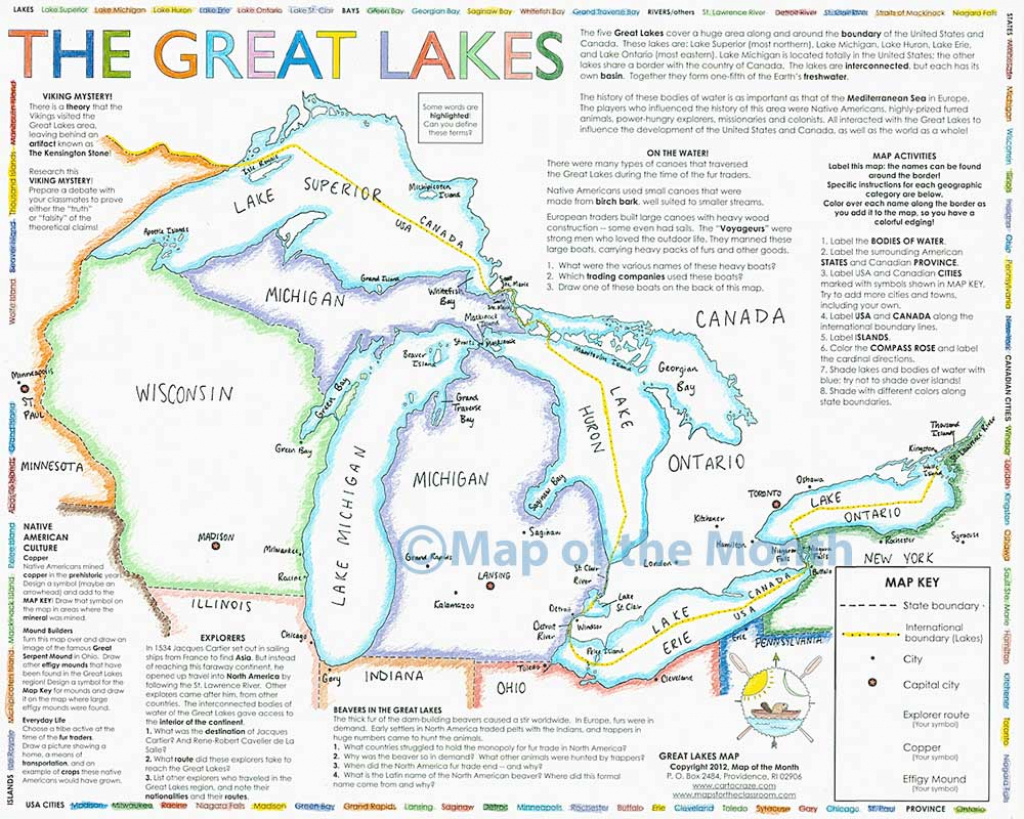 Great Lakes Map Maps For The Classroom With Of Usa States On in Great Lakes States Outline Map