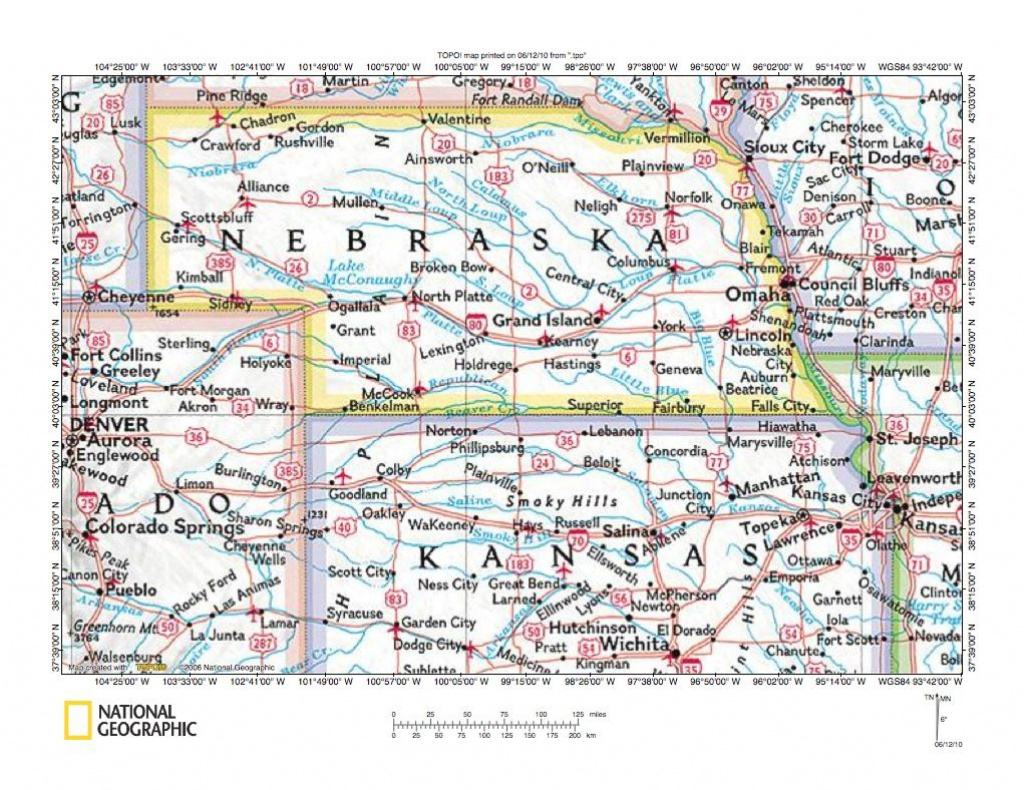Great Map Of Nebraska And . Adjoining State Lines | Road Maps Of The within Map Of Nebraska And Surrounding States