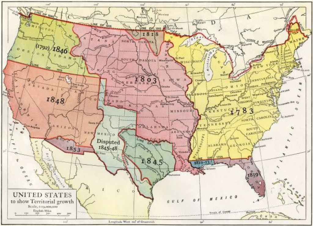 Growth Of The United States To 1853 - U.s. Map, Showing Territorial intended for Growth Of The United States To 1853 Map