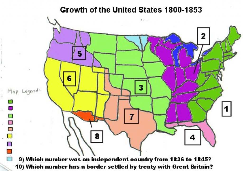 Growth Of The Us Map Activity pertaining to Growth Of The United States To 1853 Map