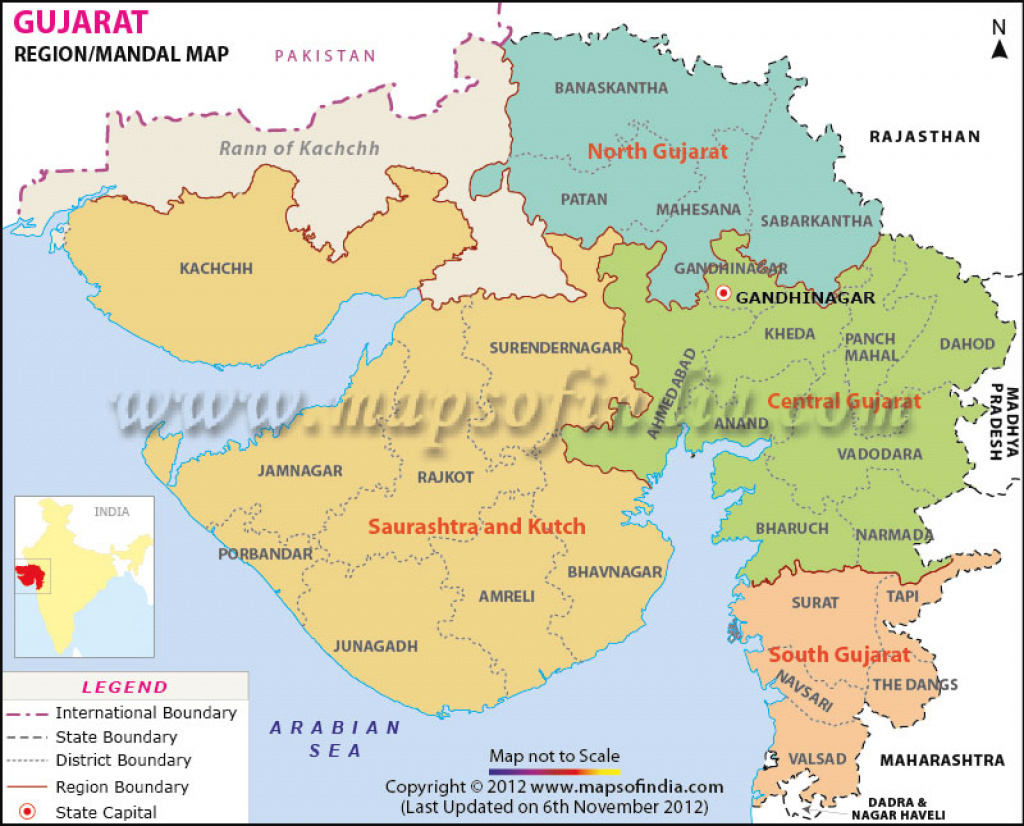 Gujarat Mandal Map, Gujarat Regions with Map Of Gujarat State District Wise