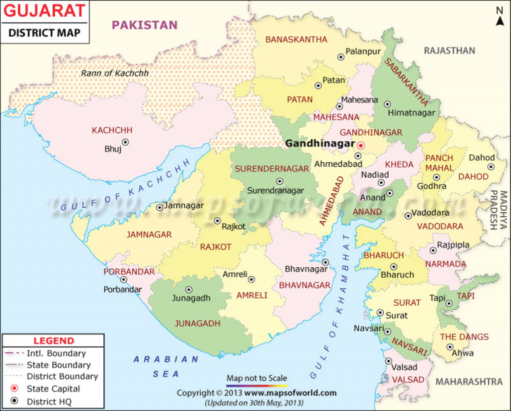 Gujarat Map, Districts In Gujarat pertaining to Map Of Gujarat State District Wise
