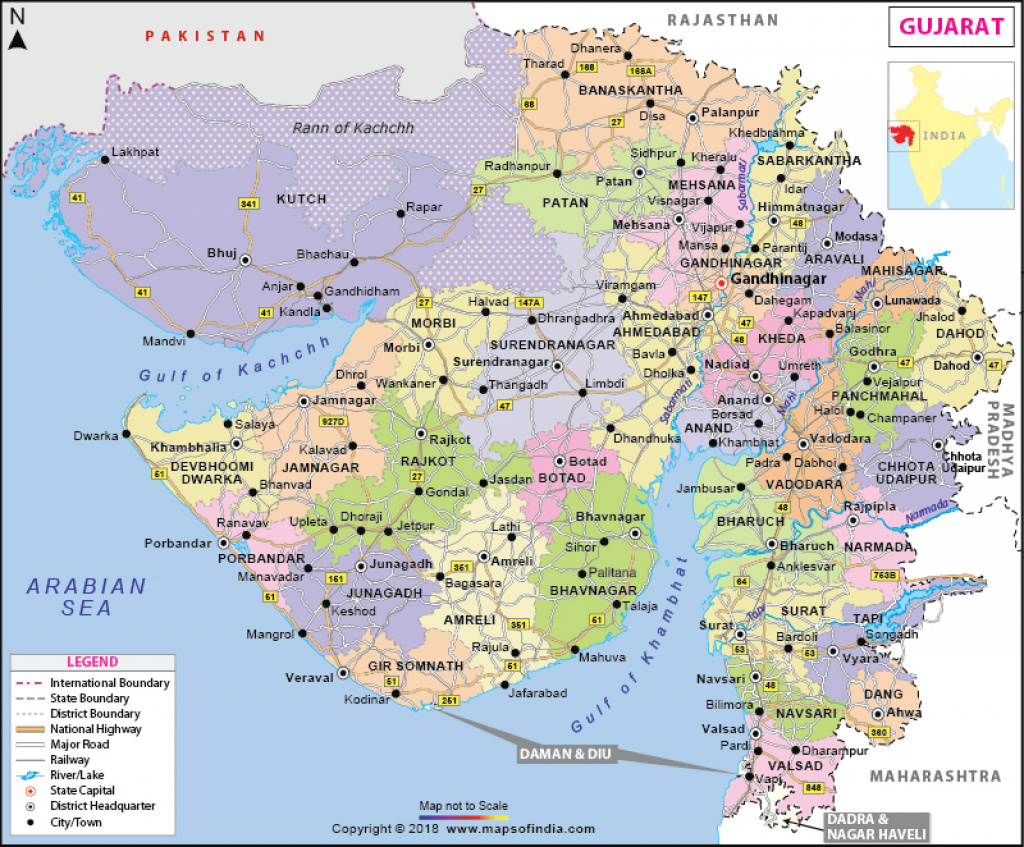 Gujarat Map: State, Districts Information And Facts inside Map Of Gujarat State District Wise