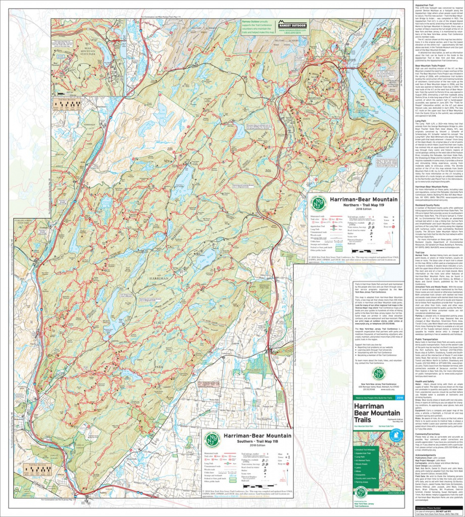 Harriman-Bear Mountain Combined Map - 2018 - Trail Conference - New throughout Harriman State Park Trail Map
