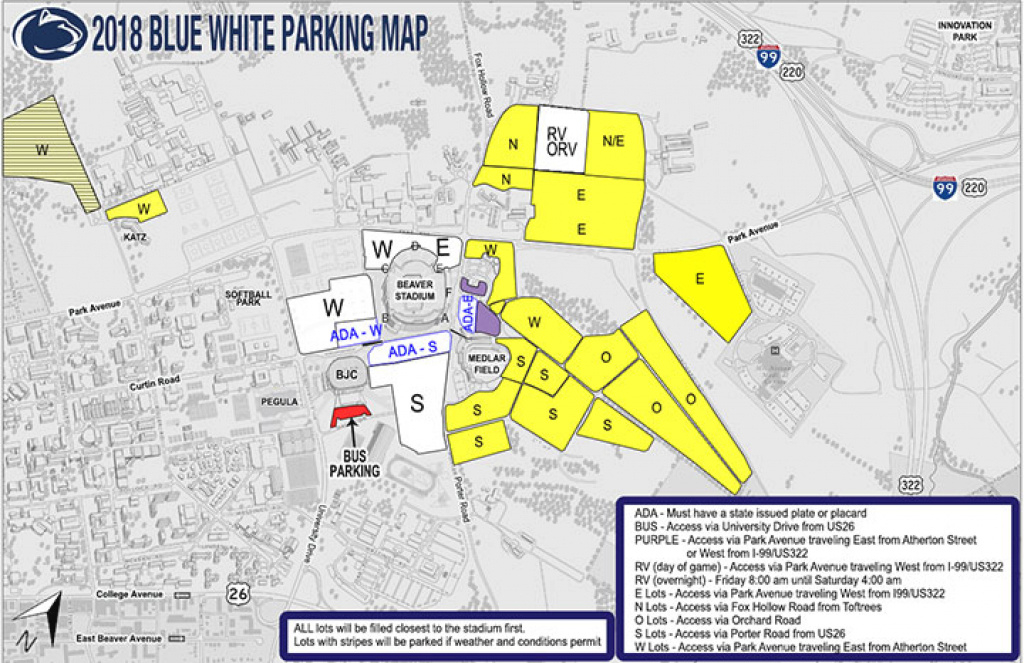 Heading To Penn State's Blue-White Game On Saturday? Here's What You inside Penn State Football Parking Green Lot Map